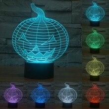 touch sensor Halloween pumpkin lamp 3D light colorful 7 color change lamp Acrylic  USB LED lamp Decoration lighting IY803499