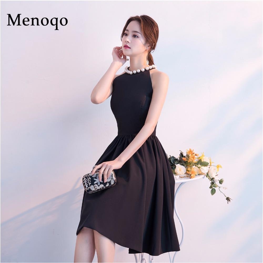Menoqo New Arrival Women Cute Cocktail Dresses Sexy Nightclub Halter Neck A-Line Black Dress Short 2019