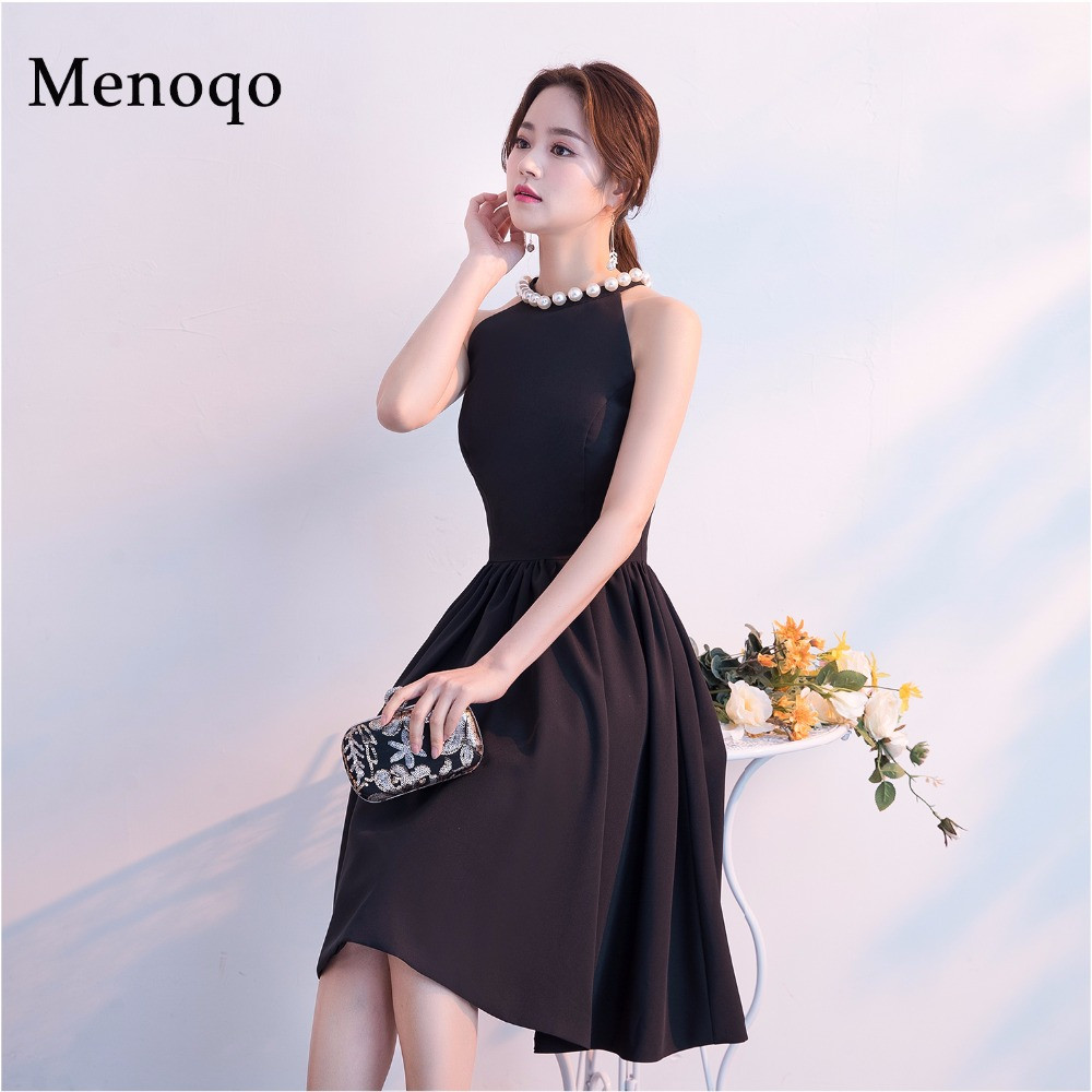 Menoqo New Arrival Women Cute   Cocktail     Dresses   Sexy Nightclub Halter Neck A-Line Black   Dress   Short 2019
