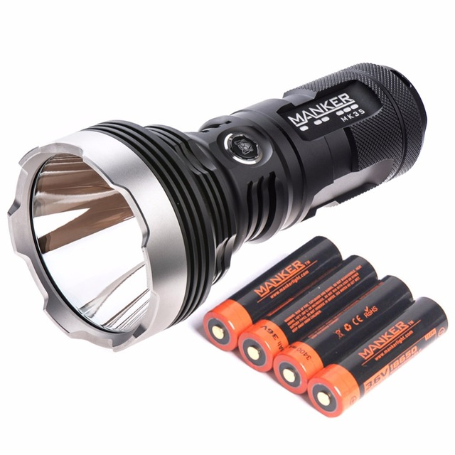 Manker MK35 2550 Lumens Cree XHP35 HI LED Flashlight 1420M Throw Torch Search Light + 4x 3400mAh 18650 Rechargeable Batteries-in Flashlights & Torches from Lights & Lighting    1