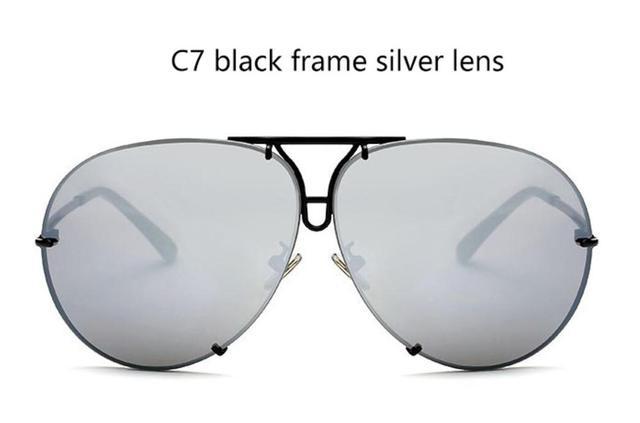 93467c3455 Big brand design pilot sunglasses 2018 fashion shades mirror Sun Glasses  women female eyewear Kim Kardashian sunglasses UV400