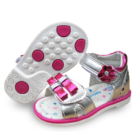 Hot Sale 1pair Gold Silver Pink Baby Girl Orthopedic Children Sandals Arch Support Shoes Kids Soft