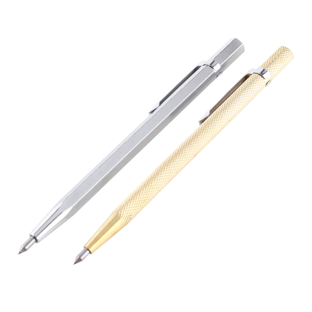 2 Pieces Carpenter Pencils with 12 Pieces Marker Refills and 1 Piece Carbide Scriber Tool for Glass//Ceramics//Hardened Steel