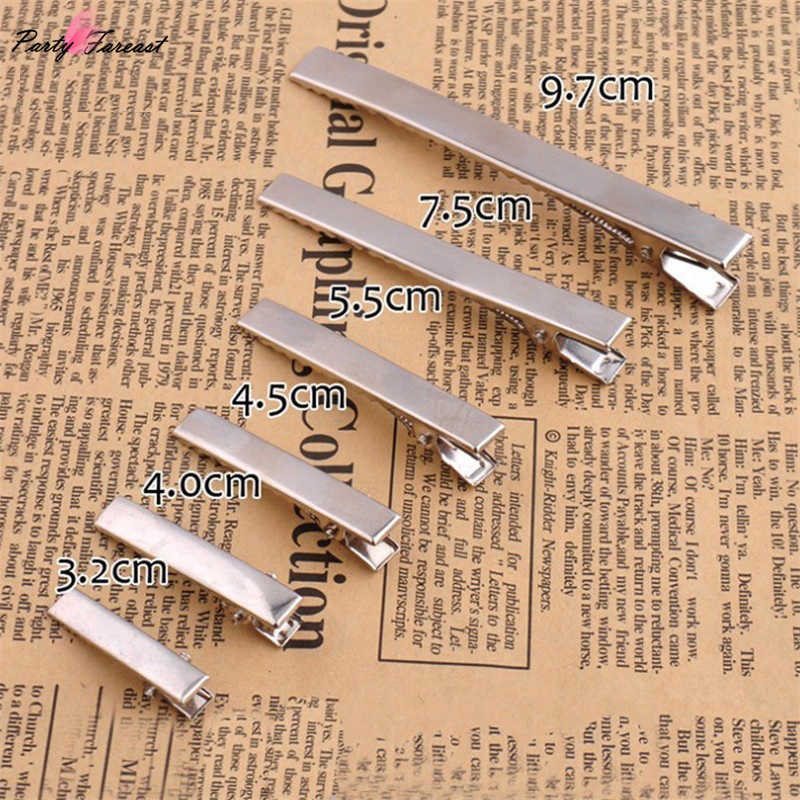 PF 10Pcs Silver Hair Clips Flat Metal Single Prong Alligator Hair Clips Barrette For Women Bows DIY Accessories Hairpins TS0357