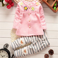 Hot Selling Baby Girls Clothing Set Floral Coat+Pants Set Children Outwear Clothes Girls Spring Autumn Long Sleeve Flower Suit