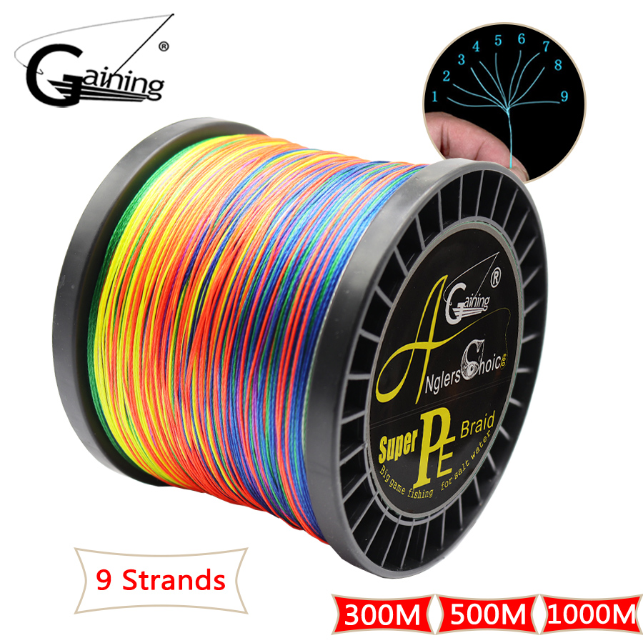 9 Strands Braided Fishing Line 300M 500M 1000M PE Wire Multifilament Fishing Line Braided Wire Saltwater Fishing