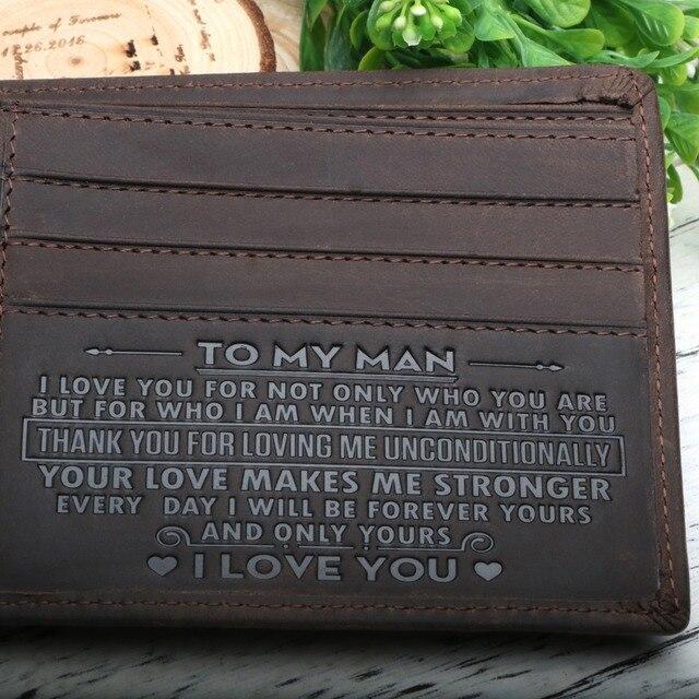 Portafoglio uomo Raccoglitore di Cuoio, Il Perfetto Mens Regalo, Per Il Mio Mens Regalo, Regali per il Marito, figlio Regali Testo Personale Inciso Accettare
