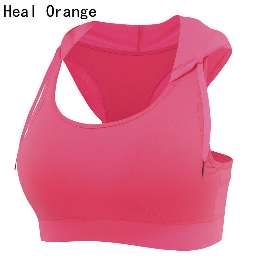 HEALTH ORANGE Wanita Running Vest Hooded Sports Bra Corset Padded Gim Sukan Vest Womens Tank Tops Bodybuilding Fitness Shirt