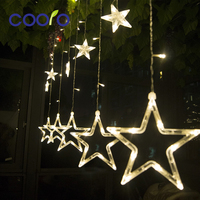 Christmas Lights LED Star Curtain Light Holiday Lights 12stars 200cm Length 100cm Height For Holiday Party