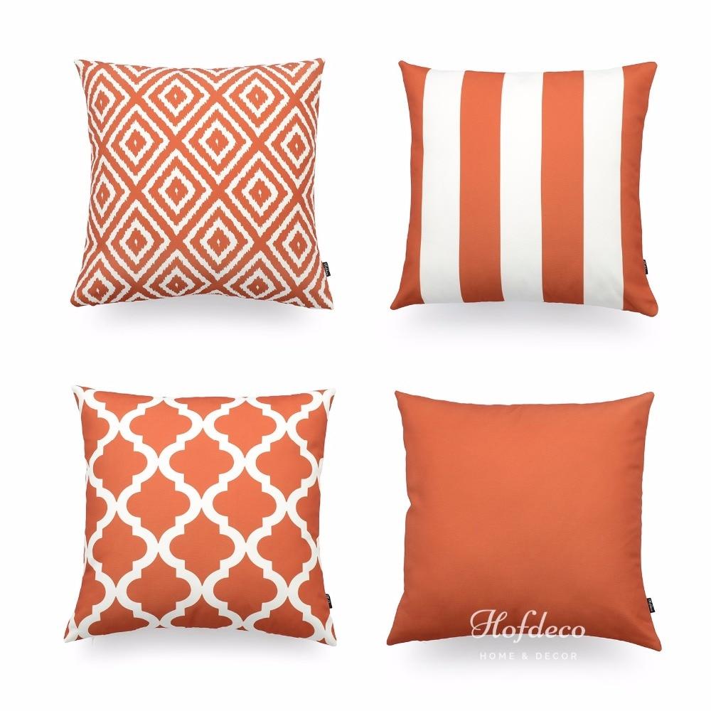 Hofdeco Decorative Throw Pillow Cover Burnt Orange Scandinavian Geometric Canvas Cushion Case ...