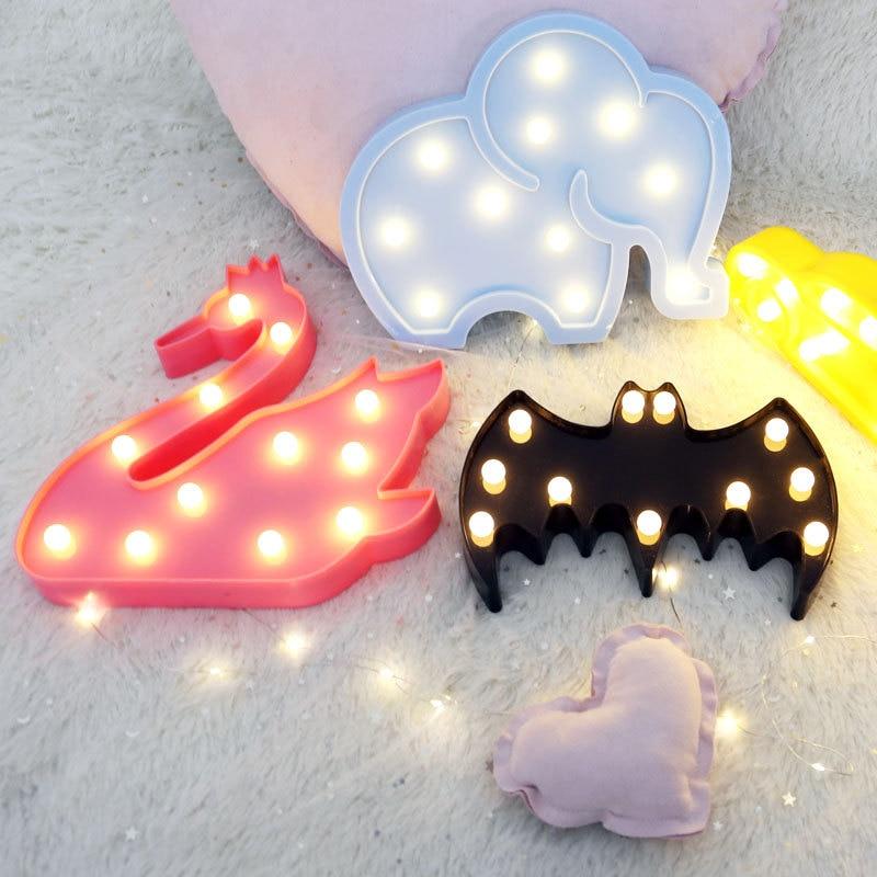 Lovely Cloud Horse Icecream LED 3D Light Night Light Cute Kids Gift Toy Baby Children Bedroom Decoration Lamp Indoor Lighting