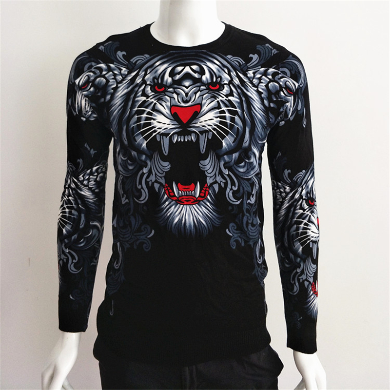 Creative 3D Tiger Head Beautiful Printing Fancy Pullover Knit Sweater Autumn 2018 Quality Cotton Soft Elastic Sweater Men M-XXXL