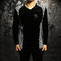 2017 Leopard Print T Shirts Mens Black and White Trendy Velvet Mens Clothing Royal Silk Shirts Luxury Slim Fit High quality Slim