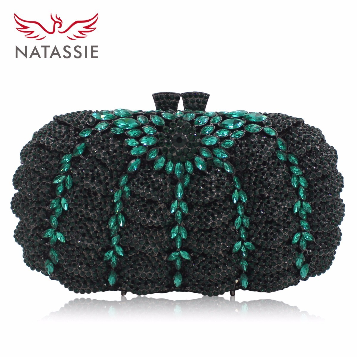 NATASSIE Luxury Crystal Clutches Evening Bags Black Women Wedding Purse Party Bag With Chain luxury designer gold clutches flap women evening bags long chain tassel shoulder bag wedding party rhinestone clutch purse l897