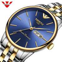 NIBOSI 2019 New Fashion Simple Men Watch Waterproof Blue Casual Quartz Watches Men with Date Week Wristwatch Zegarek Meski Saat