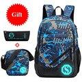 Водонепроницаемый рюкзак из ткани Оксфорд для мальчиков  школьные сумки для подростков  пенал  чехол  синяя сумка для книг  рюкзак на одно пл...