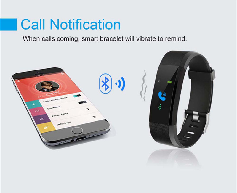 ID115 Plus Bluetooth 4 0 Smart Fitness Band with Heart Rate