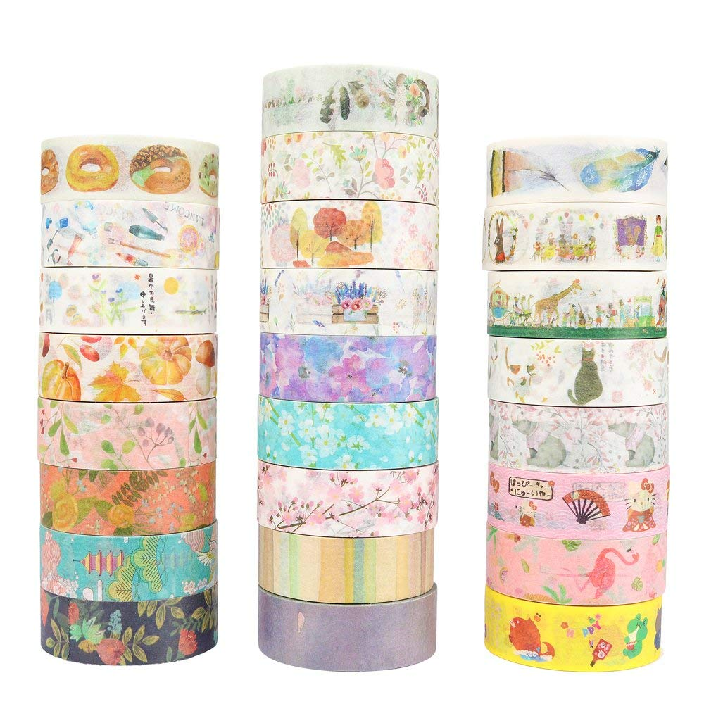 Japanese Autumn Painting Masking Washi Tape Decorative Adhesive Tape Decora Diy Scrapbooking Sticker Label Stationery aagu 1pc 8mm 7m label stationery red black dot stripe washi tape decorative masking tape lovely high viscosity paper sticker