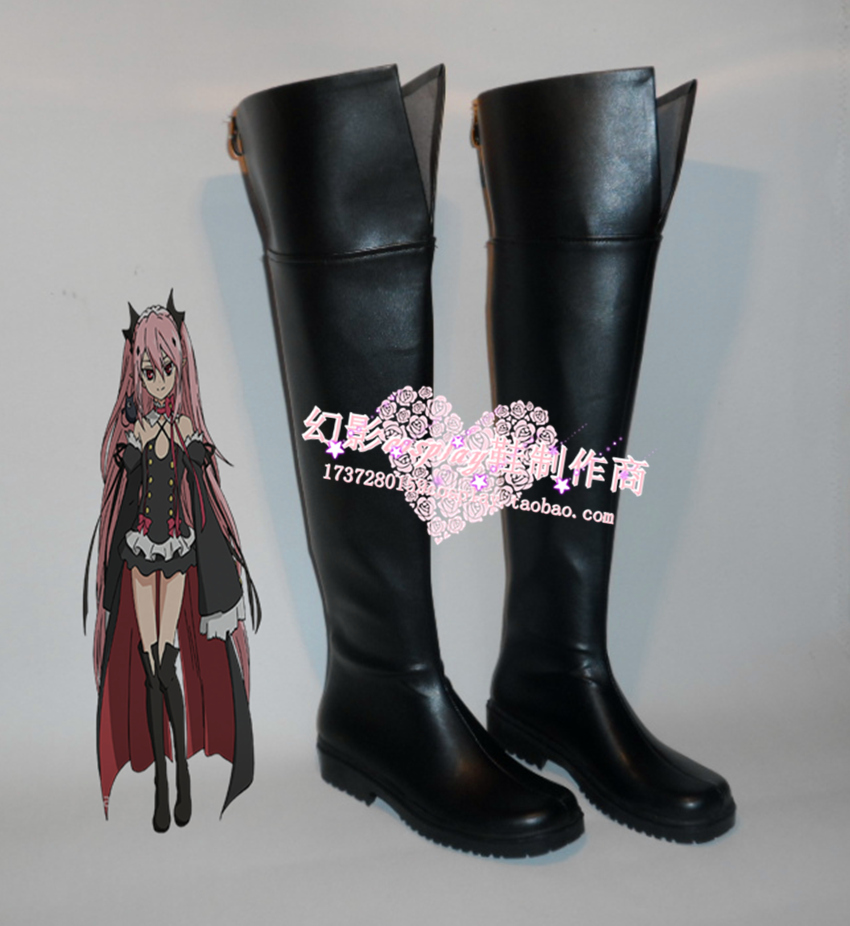 Seraph of the End Krul Tepes Girls Halloween Black Long Cosplay Shoes Boots H016