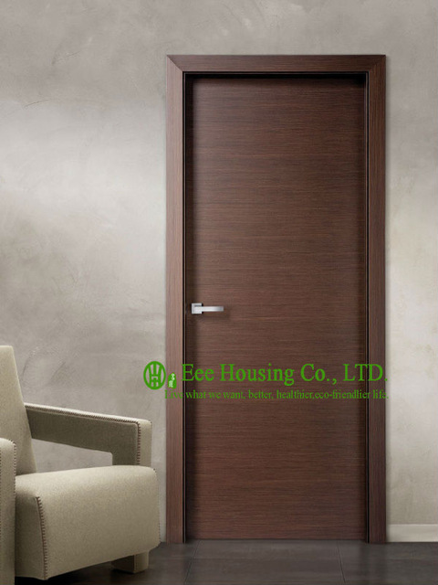 Modern Flush Wood Door For Walnut Veneer Interior Bedroom Design Condos