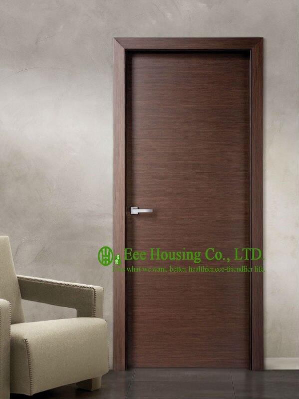 Porte en bois affleurante moderne à vendre, conception de porte de chambre à coucher intérieure de placage de noix pour des Condos