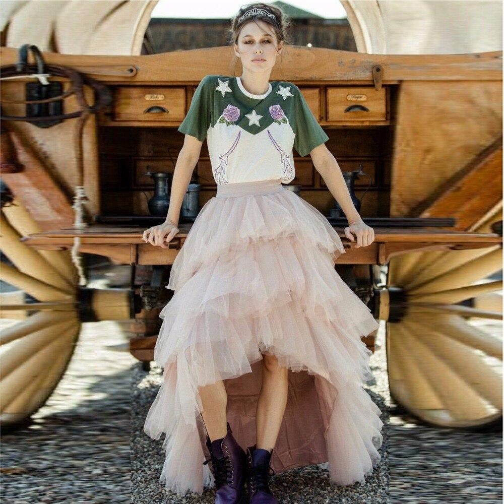 Dusty różowy wielowarstwowa wysoki niski kobiety Tulle spódnice wysokiej jakości podłogi długość Tutu Skit asymetryczny odzież na zamówienie Saia 2017 w Spódnice od Odzież damska na  Grupa 2