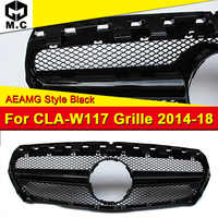 Fits For CLA-Class W117 Grille AEAMG style ABS Material Black Grills For CLA180 CLA200 CLA250 Front Bumper Mesh Grille 2014-2018
