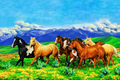 Free shipping 2013 New Design factory hot sales gobelin Tapestry, A herd of Running horses, fabric picture,size 30x40cm
