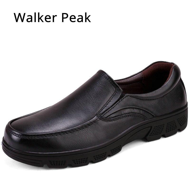 Size 38 50 Men s Genuine Leather Shoes Business Dress Moccasins Flats Slip On New Men