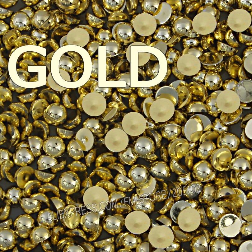 Mix Farben Größen Silber Gold Halbrund FlatBack Perle Perle, 2mm - Kunst, Handwerk und Nähen - Foto 3