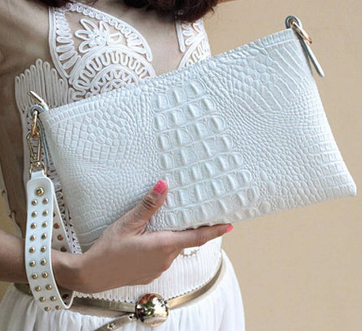 2017 Fashion Brand Leather Alligator Day Clutch Women Handbag Envelope Bag Wrist Ladies Evening Bag Crossbody Shoulder Bag Bolso