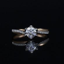 LASAMERO 0.503CT FG/SI Round Cut Natural Diamond Ring For Women 18k White Gold 2 Tone Gold Certified Engagement Wedding Ring