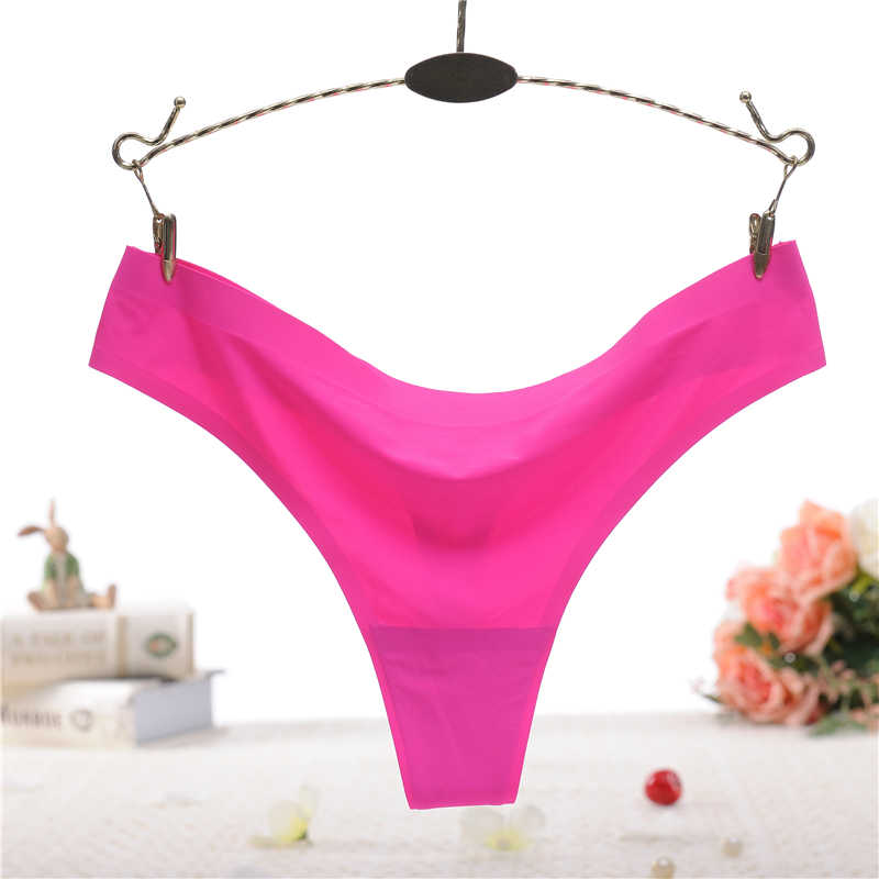 b2e80befd69e Hot selling cotton bottom thong ladies one piece ice silk seamless stick  adhesive solid color triangle