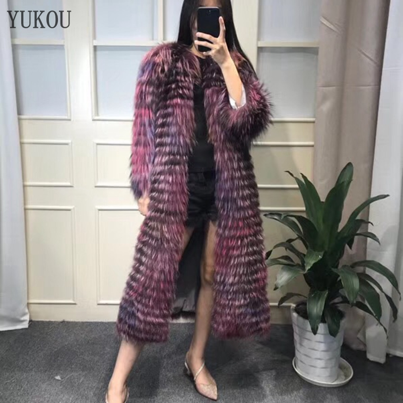 YUKOU di Volpe Della Pelliccia Delle Donne Cappotti Lungo Inverno 2018 Naturale Reale Silver Fox Giacca di Pelliccia Femminile Caldo Morbido Più Colori