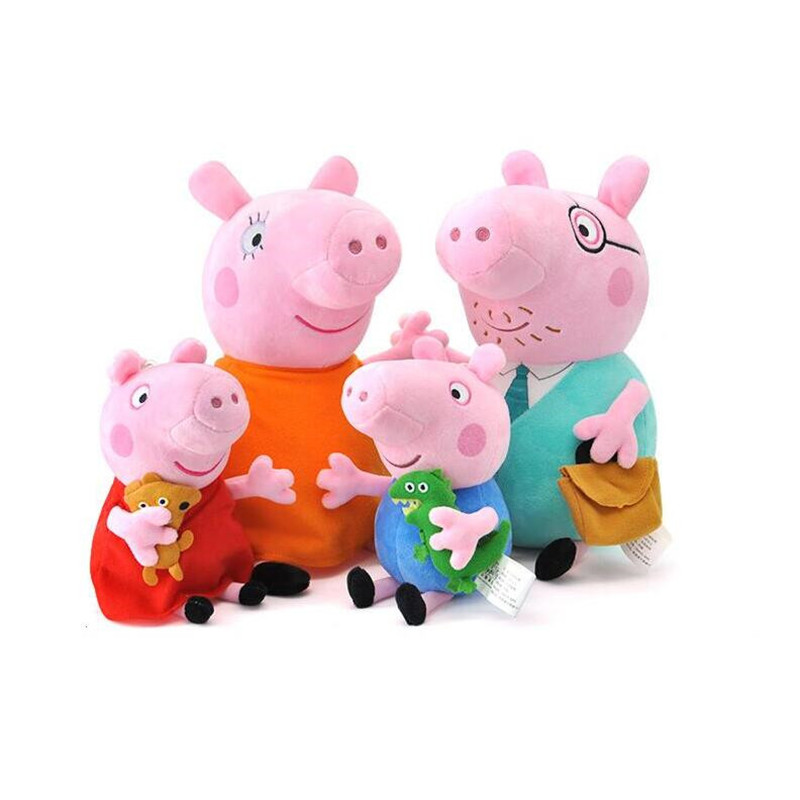Stuffed Plush Toy With Keychain Pendant Friend Pink Pig Family Party Dolls 1