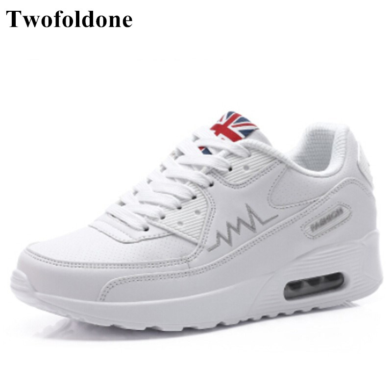 Quality Platform Sneakers Women Leather Sports Shoes White Footwear 35-40 Girls Air Cushion Light Athletic Running Shoes