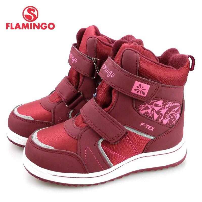 FLAMINGO Winter Fur Keep Warm Anti slip High Quality Waterproof Kids Size 29 35 Snow Boots