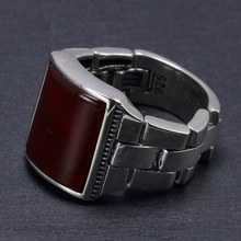Genuine Solid Silver s925 Foldable Mens Rings Natural Stone Black Red Onyx Tiger Eyes Big Turkish Rings For Men Fine Jewelry
