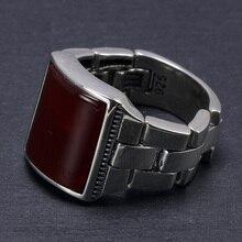 Oryginalne lite srebro s925 składane pierścionki męskie z kamienia naturalnego czarny czerwony onyks tygrysie oczy duże tureckie pierścienie dla mężczyzn biżuterii