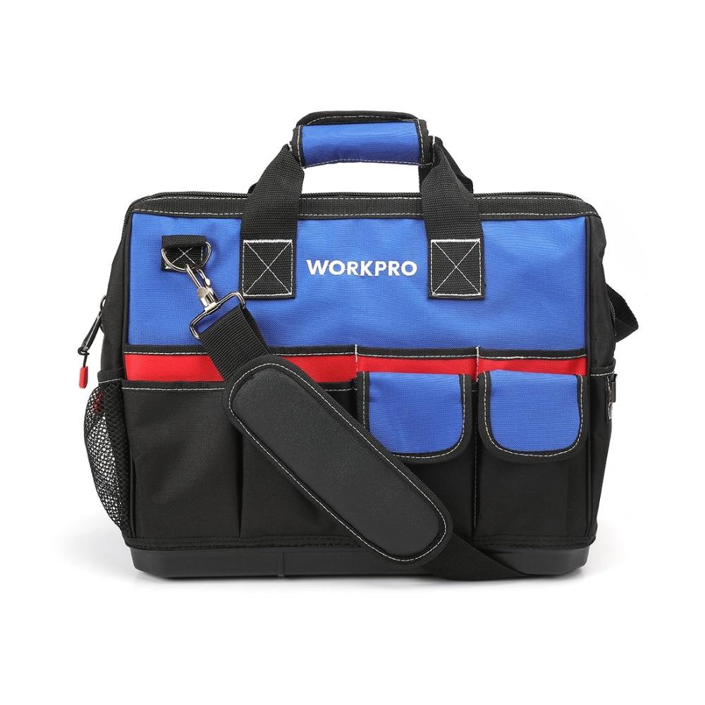 WORKPRO 18 дюймов широкий рот сумка для инструмента с водонепроницаемые формованных базы Для мужчин большой многофункциональный мешок инструм...