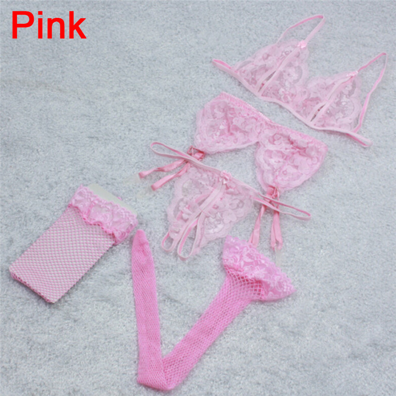 (1 Set=4pcs) Lace Floral Top Sexy Hollow Bra+Floral Garter Belt Suspenders+Thong Underwear+High Stockings Fishnet 3