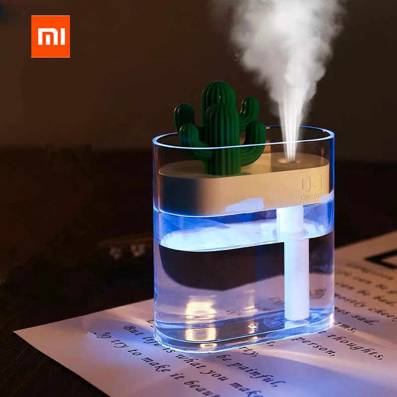 XIAOMI mijia 319 Clear Cactus Ultrasonic Air Humidifier 160ML Color Light USB Air Purifier Anion Mist Maker Water Atomizer