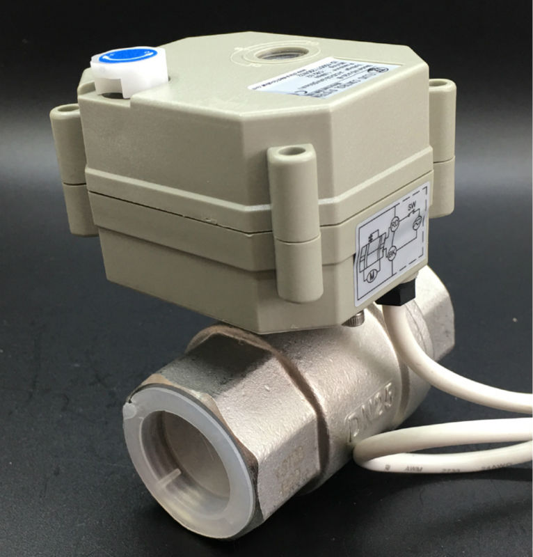 BSP/NPT 1'' Electric Stainless Steel Valve TF25-S2-B 2-Way DC5V 2/3/5/7 Wires Metal Gear High Quality Seller Recommends tf20 s2 c high quality electric shut off valve dc12v 2 wire 3 4 full bore stainless steel 304 electric water valve metal gear