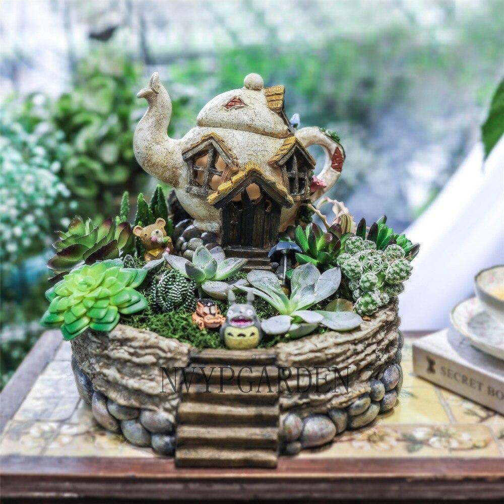 Gardening Creative Resin Flower Pot Succulent Plant Pot Bonsai Planter Micro Landscape Flowerpot Fairy Garden Decoration Planter