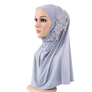 Muslim Fashion Women's Hijabs Fashion Lace Diamonds Hijab/Scarf/Cap Full Cover Inner Cotton Islamic Head Wear Hat Underscarf
