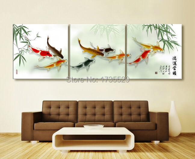 3 piece koi fish wall art chinese painting wall art on for Koi artwork on canvas