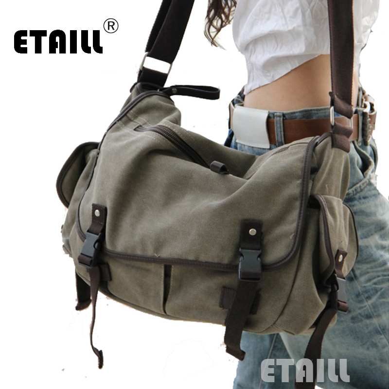 vintage fashion unisex canvas messenger bag book laptop school shoulder bags ladies women crossbody bags handbag men travel bag 2018 Large Canvas Leather Crossbody Bag Men Military Army Vintage Women Messenger Bags Shoulder Bag Casual Travel School Bags