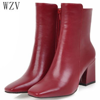 2019 Women Side Zipper Martin Boots Comfortable Mid Heel Ankle Boots Fashion Warm Winter Shoes Black Red White Women Boots H410