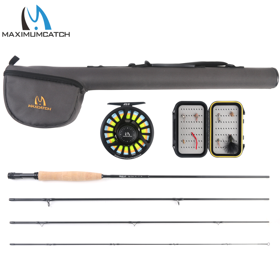 Maximumcatch 5/6WT Fly Fishing Combo 9FT Fly Rod with Tino/ Avid Pre-spooled Reel Outfit With Cordura Triangle Tube maximumcatch 5 6wt fly fishing combo 9ft fly rod and avid pre spooled reel outfit