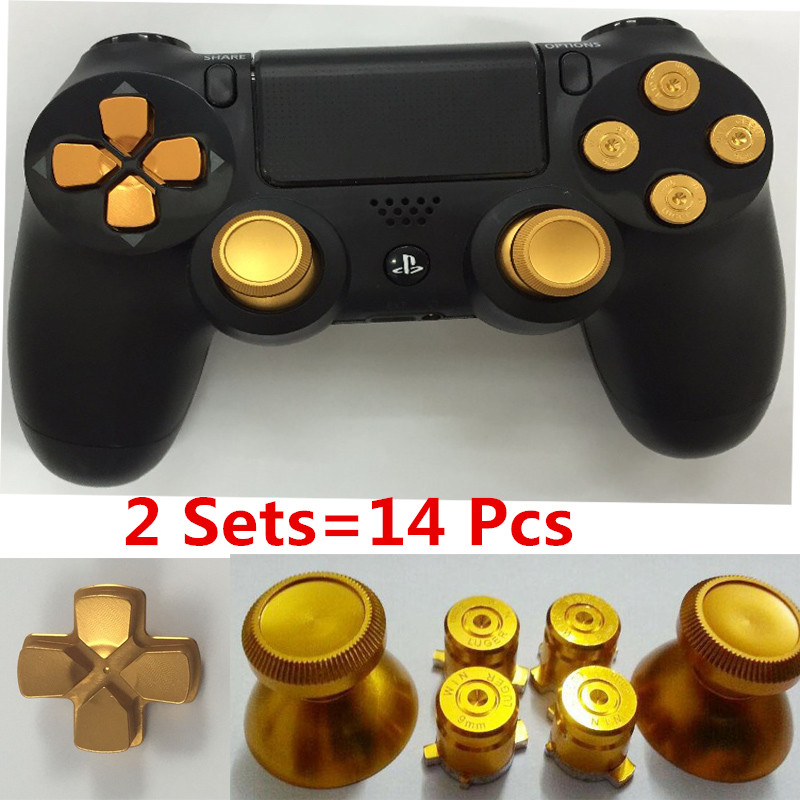 US $11 69 10% OFF|2sets Golden Metal Analog thumb sticks+Arrow D pad+9mm  Bullet Buttons Mod Kit For Playstation PS4 Dualshock 4 Controller  Gamepad-in